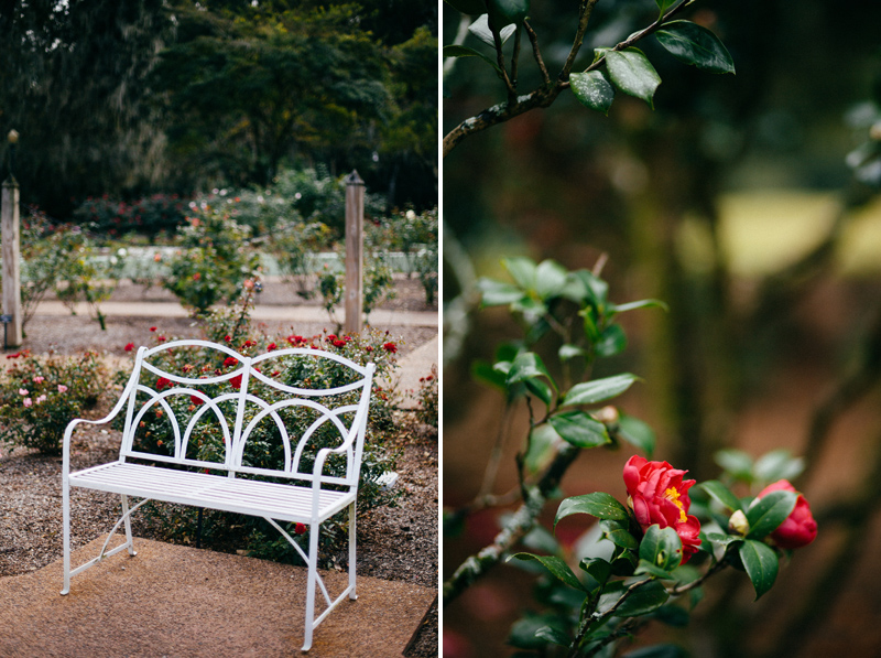 intimate garden wedding: bench